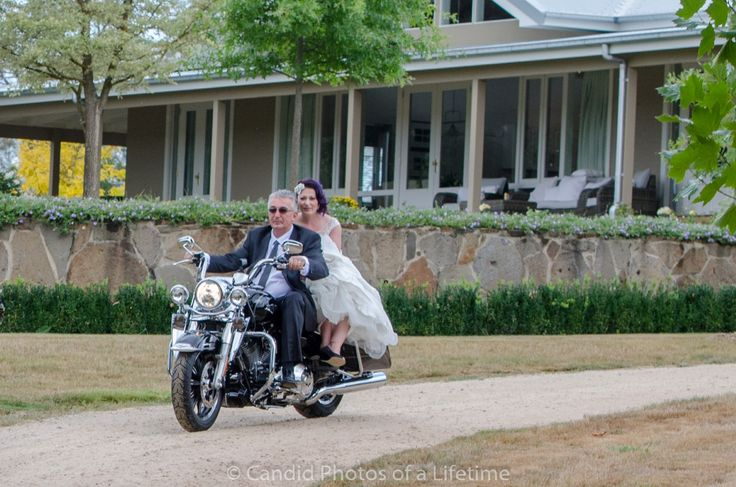 Candid Photos of a Lifetime - Now, this is how a bride should arrive at her wedding...  on a Harley, driven by her father. Waldara Farm, Oberon www.candidphotosofalifetime.com