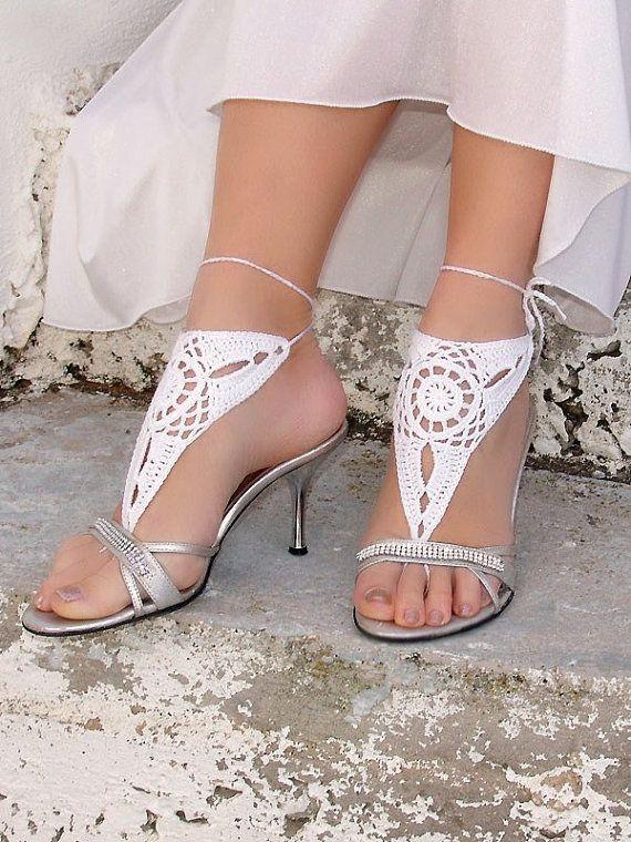 Barefoot sandles WHITE Barefoot sandals Wedding beach by Lasunka, €11.00