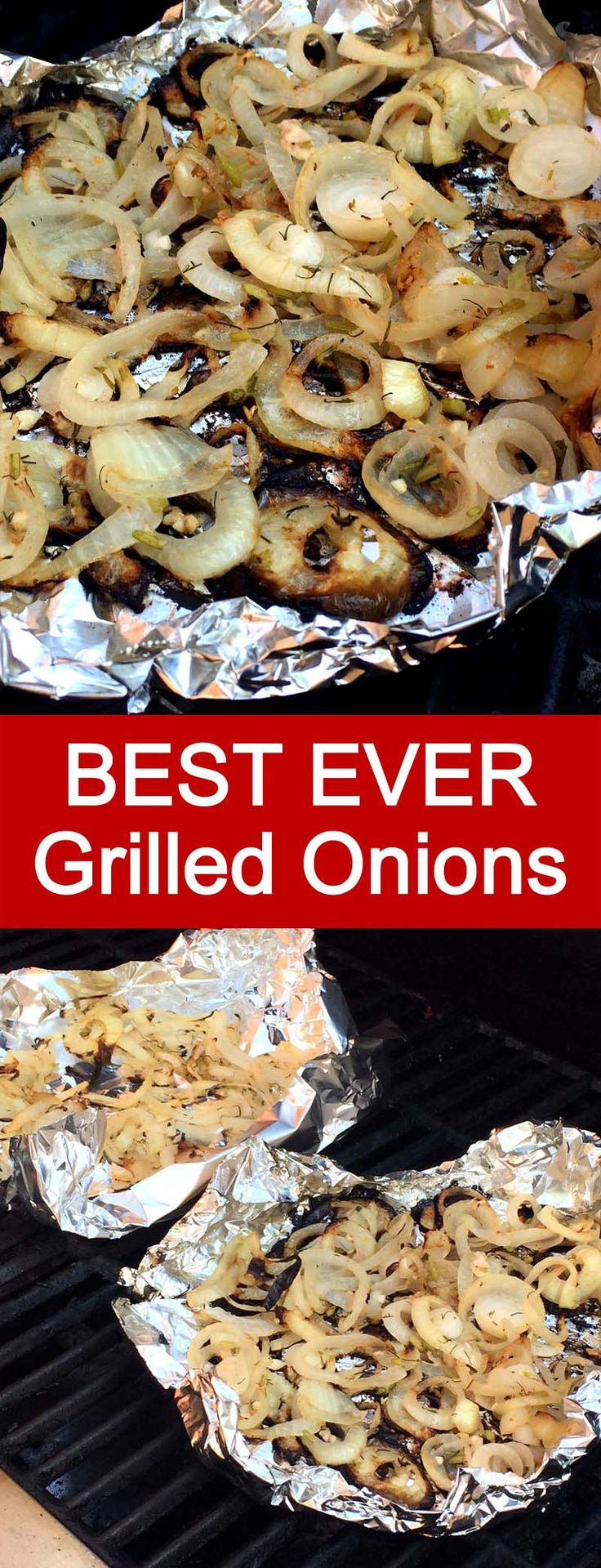This grilled onion slices are amazing! They are marinated before grilling, so they are super flavorful! Grilling them in foil is so smart!