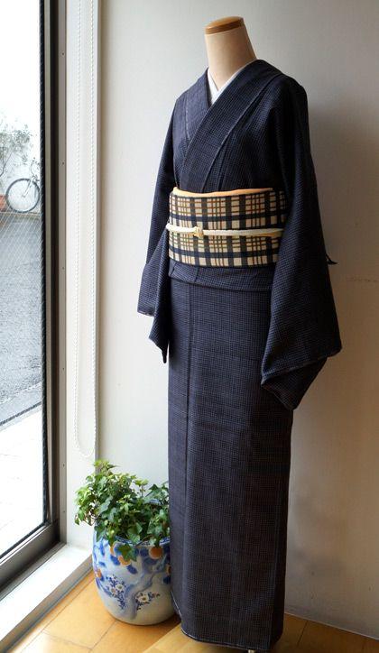 【袷】紅花、新田間道と格子柄開き名古屋帯 #kimono #着物   ちぇらうなぼるた雑記帳