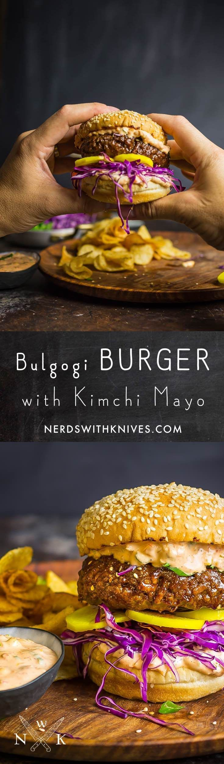 A juicy burger, glazed with a sweet and spicy soy-ginger-garlic Bulgogi sauce. Kimchi mayo and pickled daikon radish bring this burger fully over-the-top delicious.