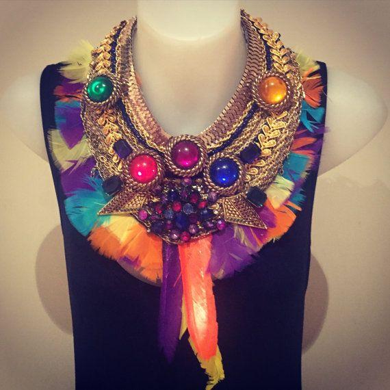 HELIGOLAND feather fringe gold huge super by MimmiAndKinki on Etsy