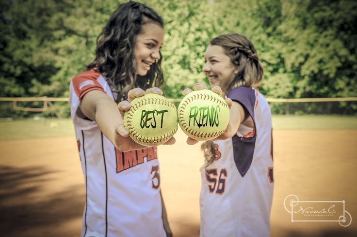 softball best friends If I make the team we can take softball pictures too. LOL