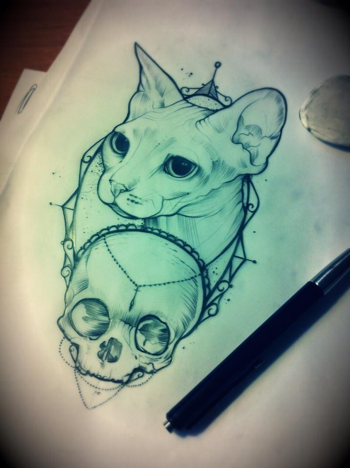 Sphynx cat & skull tattoo design
