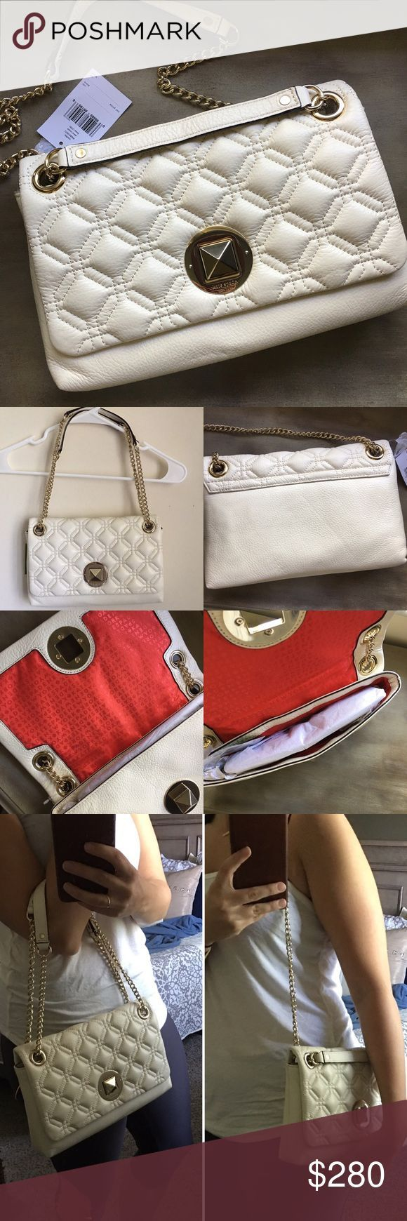 Authentic Kate Spade quilted small purse Brand new still with tags! Gorgeous quilting throughout with accented red interior. Can be carried as a handbag or shoulder bag. Gold details. Style is Cynthia WKRU3571. Great deal. Size is approximately 11x7. Come with dust bag. 👉🏼 Accepting Reasonable offers!!! kate spade Bags - medium purse, handbags for ladies online shopping, white handbag sale *ad