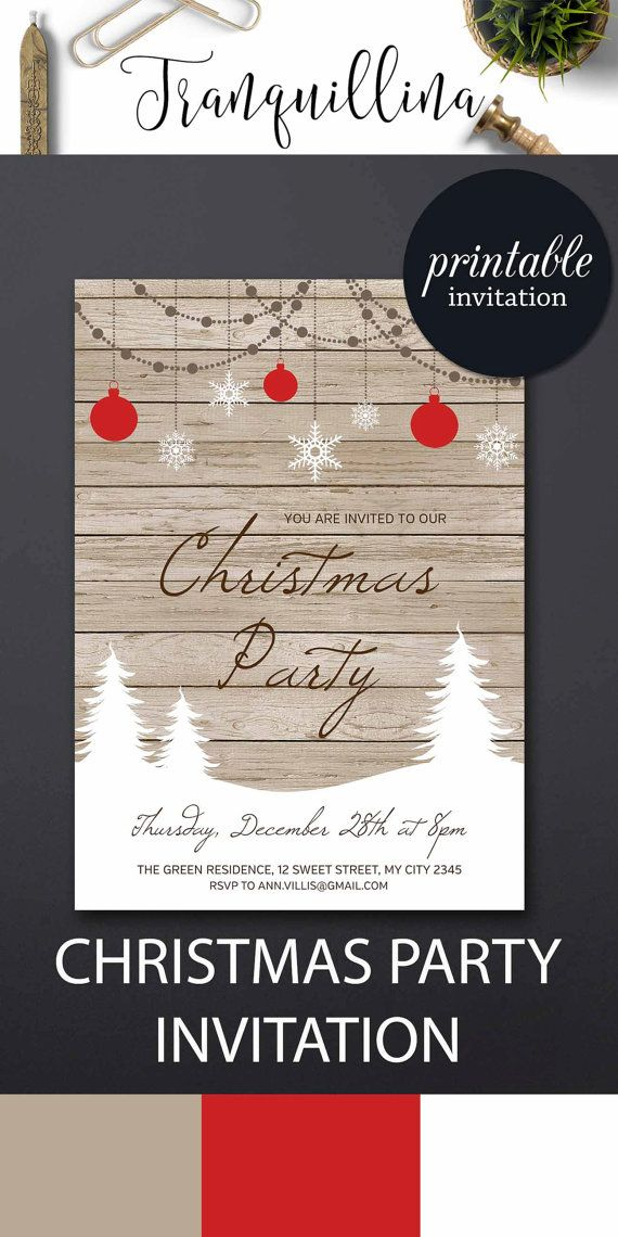 Christmas Invitation Printable, Holiday Party Invitation, Christmas Party Invitation, Rustic Christmas Invite, Printable Christmas Invite