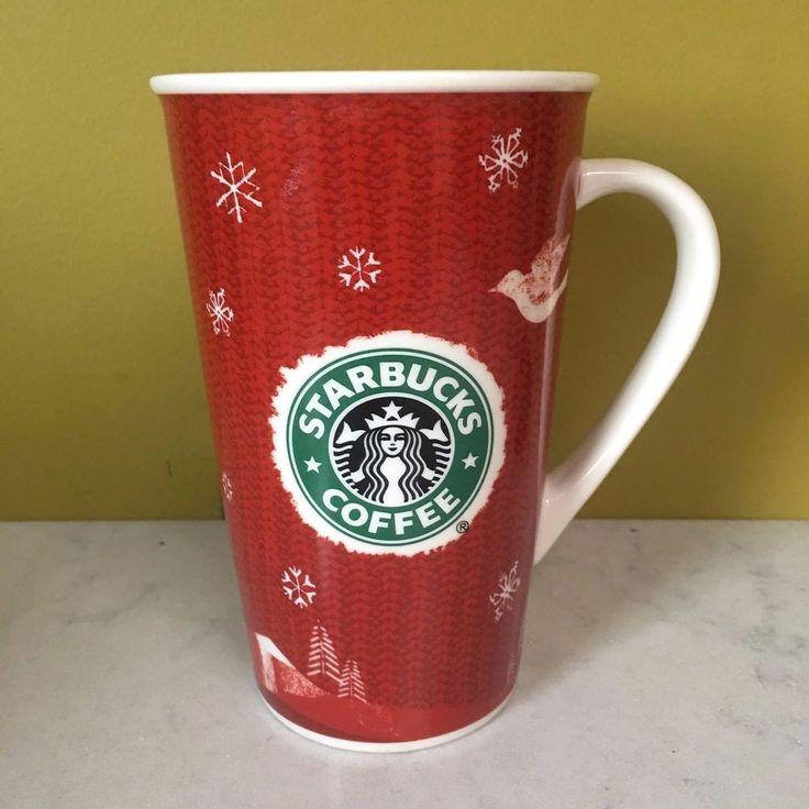 Starbucks Red Holiday 2008 Coffee Cup Mug with Mermaid Dove Reindeer XmasTree  #Starbucks