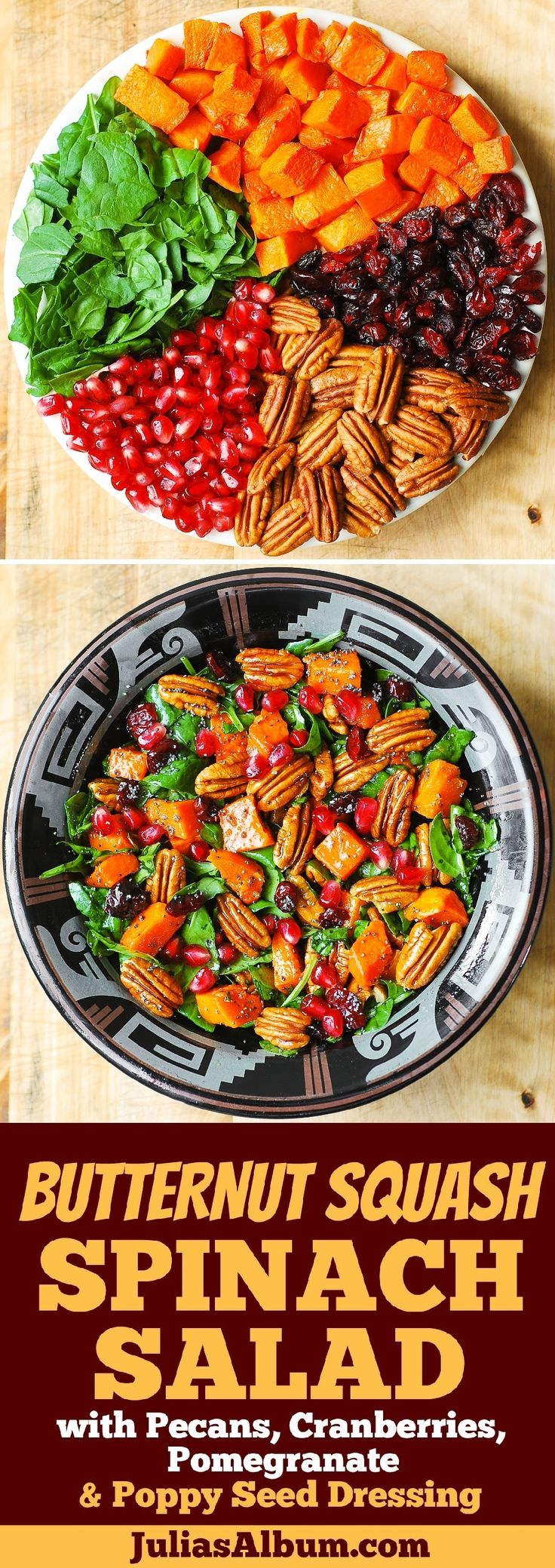 Butternut Squash Spinach Salad with Pecans, Cranberries, Pomegranate with Poppy Seed Honey-Lime Dressing. Thanksgiving, holiday side dish recipe.