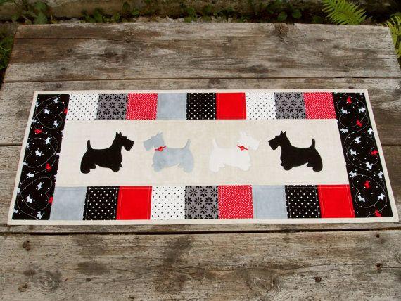 Scottie Terrier Table Runner, 12 х 30 inches (30x75 cm), cotton quilt, applique, black-white-red-gray-beige.