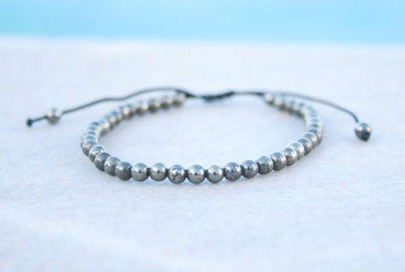 Pyrite Bracelet Men Beaded bracelet Men Zen by SanguineJewelry