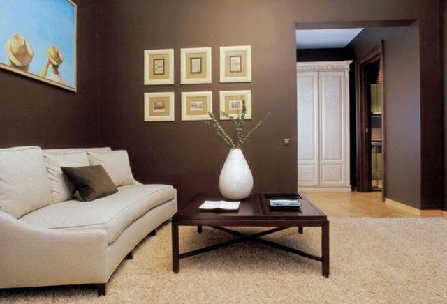 murs marron et un canapé blanc dans le salon élégant