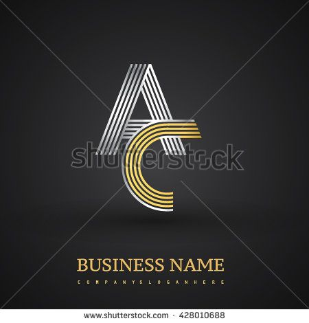 Letter AC company linked letter logo icon gold and silver. Elegant gold and silver letter symbol. Vector logo design template elements for company identity. - stock vector