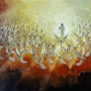 "Heavenly angels  These superior beings are very numerous. ""Thousand thousands,"" etc. (Dan. 7:10; Matt. 26:53; Luke 2:13; Hebrews 12:22-23).  24:31)."