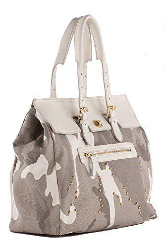 Anna Cecere - Borsa/Shopping in canvas con rifiniture in vera pelle e decorazioni con borchie oro - Made in Italy - Camouflage #borse