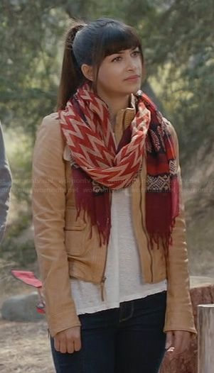 Cece's cream leather jacket and red printed scarf on New Girl.  Outfit Details: http://wornontv.net/23364/ #NewGirl