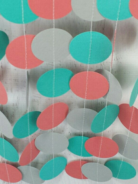 Coral Turquoise Gray Circle Garland  Turquoise Coral by LucyBirdy