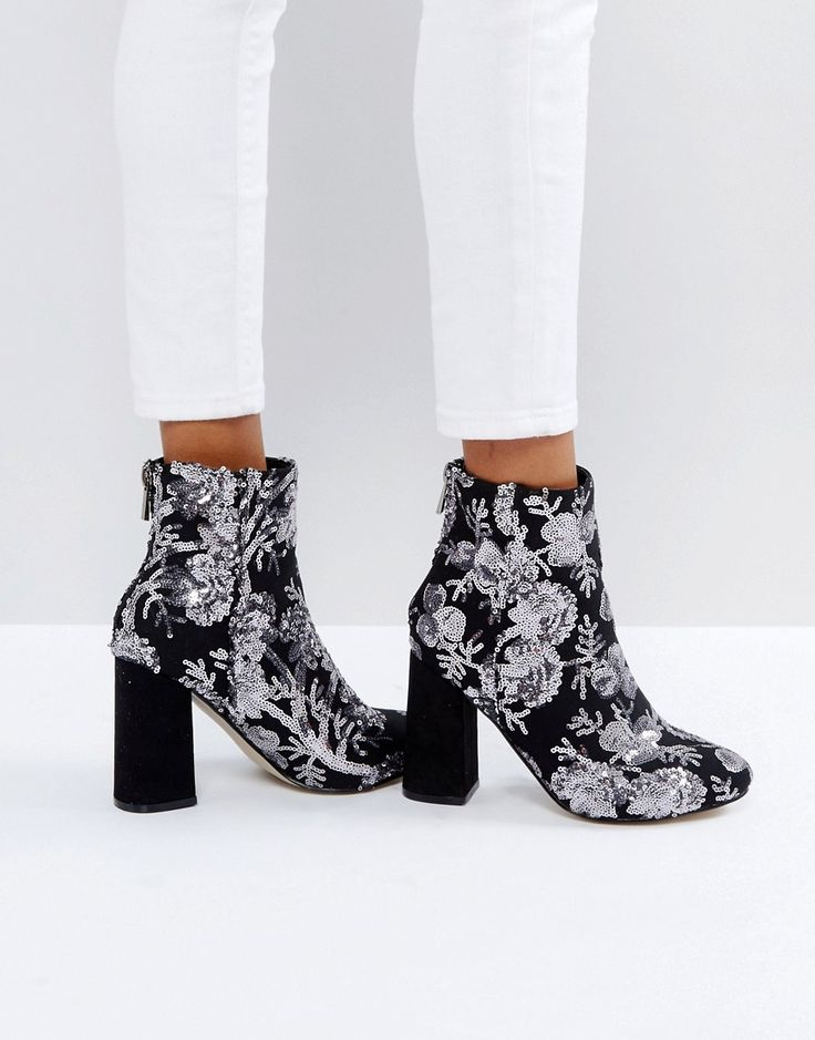NEW LOOK FLORAL SEQUIN EMBELLISHED HEELED ANKLE BOOT - GRAY. #newlook #shoes #