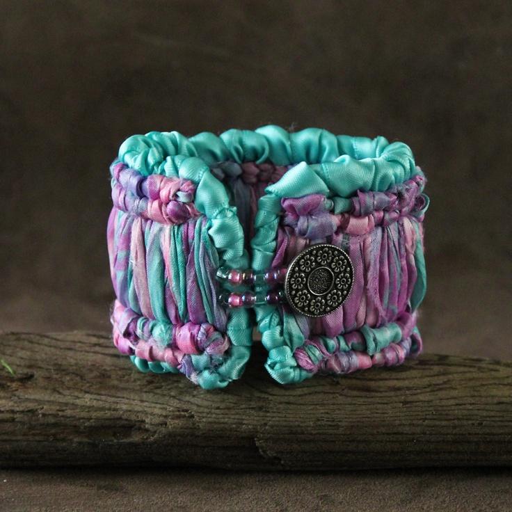 "Bracelet Cuff Sari Silk & Satin Ribbon Locker Hooked: ""Le Ruche"". $40.00, via Etsy."