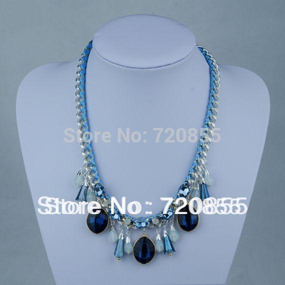Модные Ожерелья для Женщин, синий Камень и Посеребренные Цепочки, Мода Ручной Работы Кристалл Ожерелья для Женщин, Длина 51 см