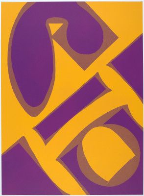 "Artwork: George Sugarman, ""Yellow and Purple,"" 1965, lithograph (aluminum) in violet and yellow-orange on white Arches paper #art #color #elements #teachers #k12 #artsed"