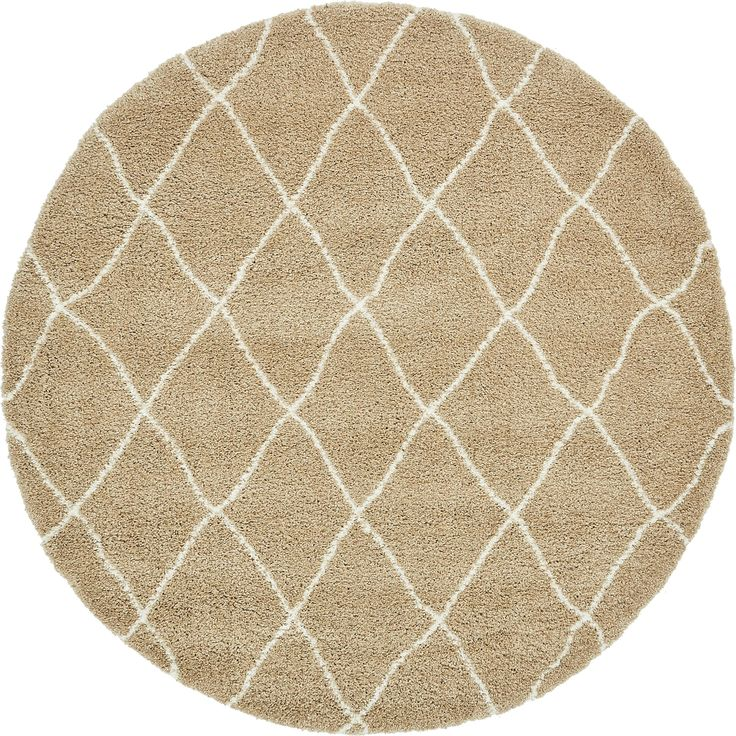Unique Marrakesh Moroccan Grey/Brown Shag Round Rug (8' x 8') (Cream - Taupe - Geometric), Size 8' x 8'