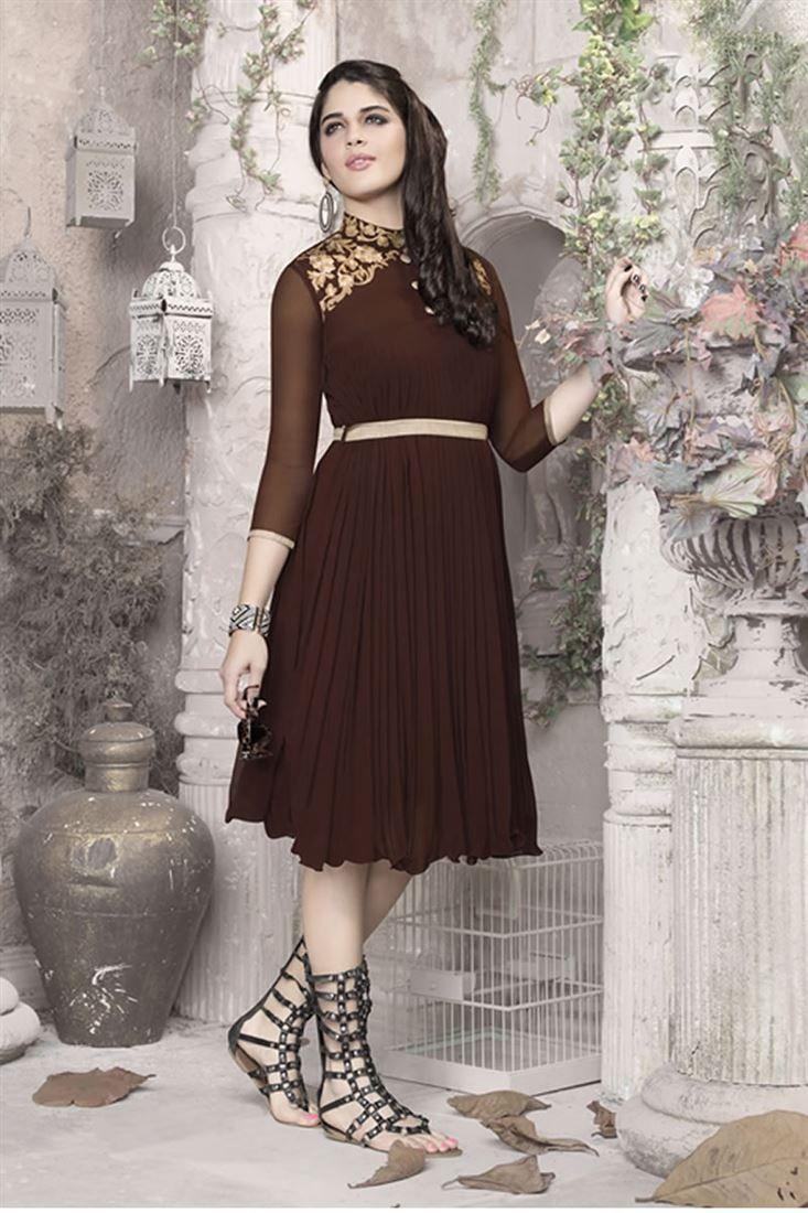 Brown Color Designer Georgette Kurti