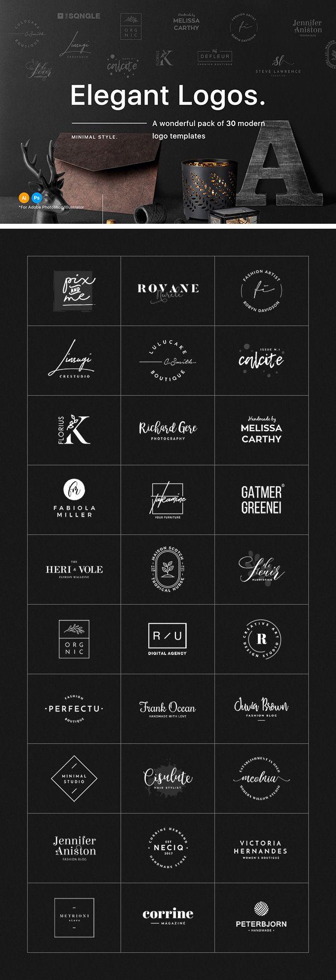 30 Elegant Logo Templates - download freebie by PixelBuddha