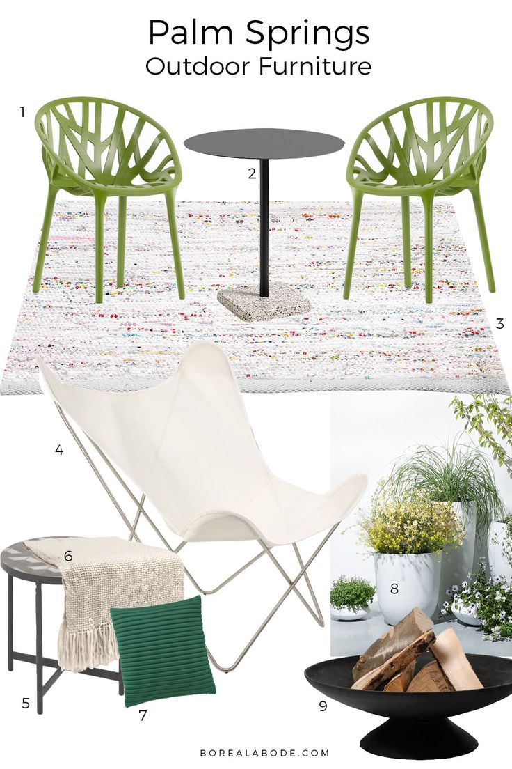 Inspired by the finest mid-century modern architecture of Palms Springs. This mood board focuses on outdoor furniture for small spaces. And it's 100% British weatherproof, too.