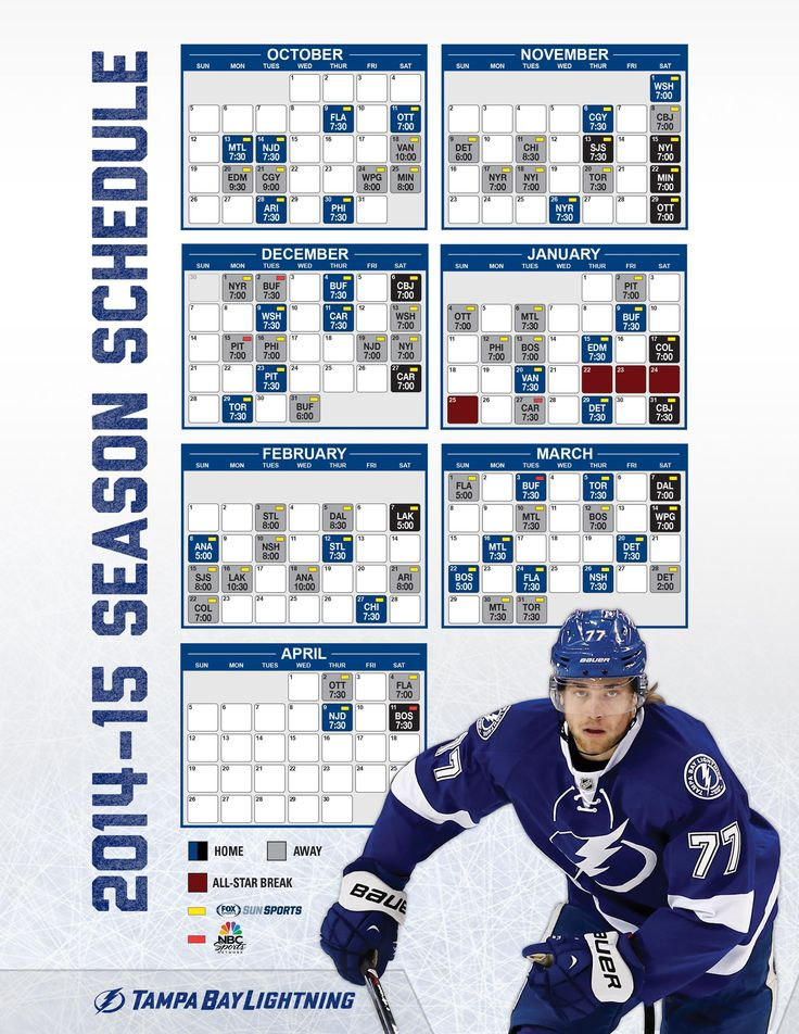 Tampa Bay Lightning 2014-2015 Schedule! Go Bolts!