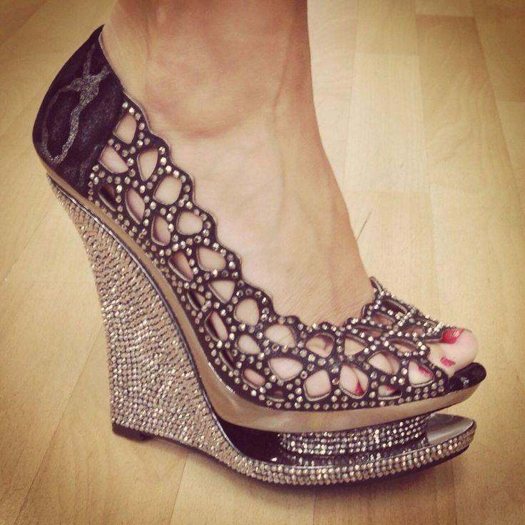 Lady Couture Women's Chanel Rhinestone Black Wedge Dress Shoe Size 40 US 9 9 5 | eBay