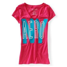 T-shirt col V rose Aérospostale