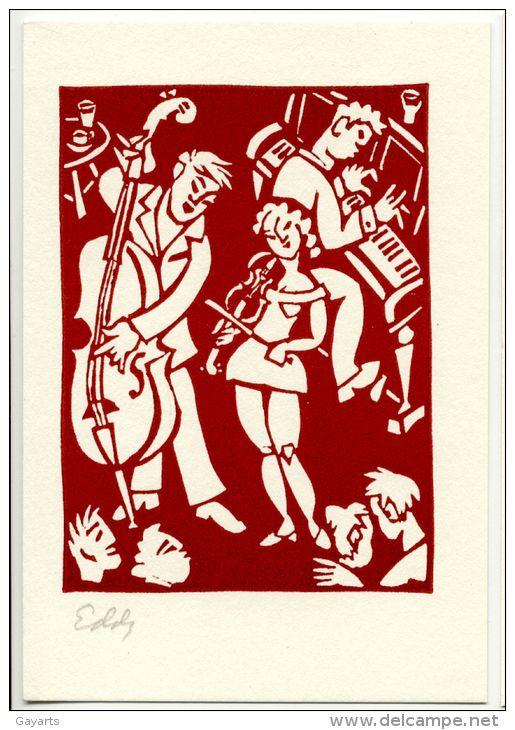 Linocut postcard - Eddy Varekamp