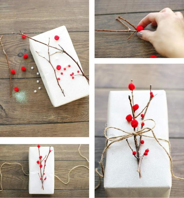 Gift topper. Red mini moms on twig. #ClippedOnIssuu from 2014 Christmas magazine by Nordic Design