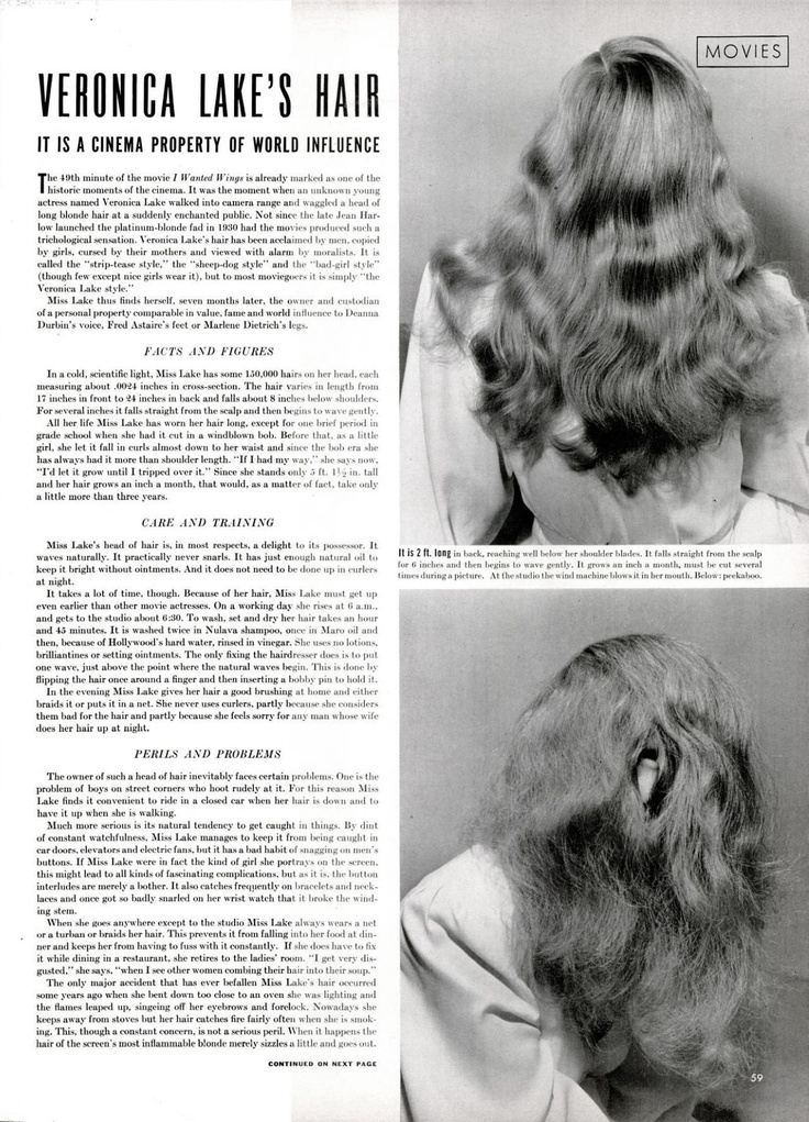 Veronica Lake's hair, featured in LIFE magazine (November 24, 1941 issue, page 59). Photos: Bob Landry.
