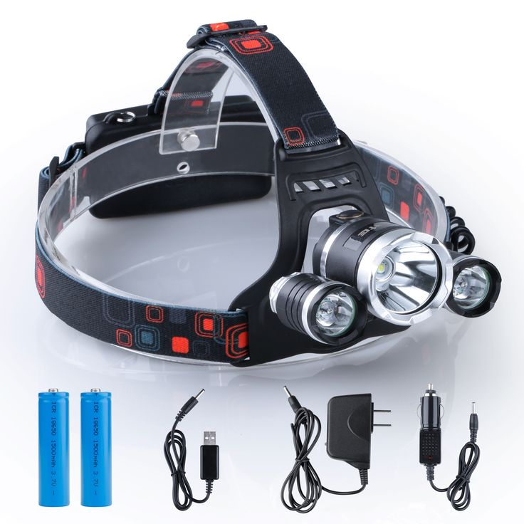 i-Mate Waterproof LED 6000lm Bright Headlight Headlamp Flashlight 3 Bulbs CREE T6 LED with Rechargeable Batteries and AC Charger for Backpacking Hiking Camping Riding Fishing Hunting