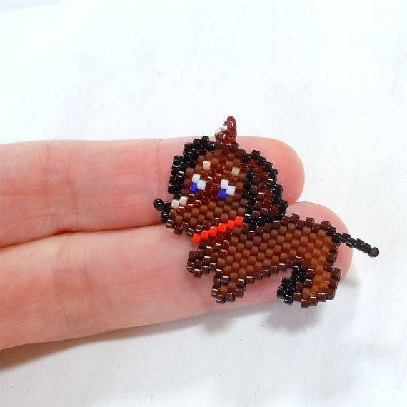 Dachshund Seed Bead Charm  Peyote Stitch Bead by BeadCrumbs, $5.00