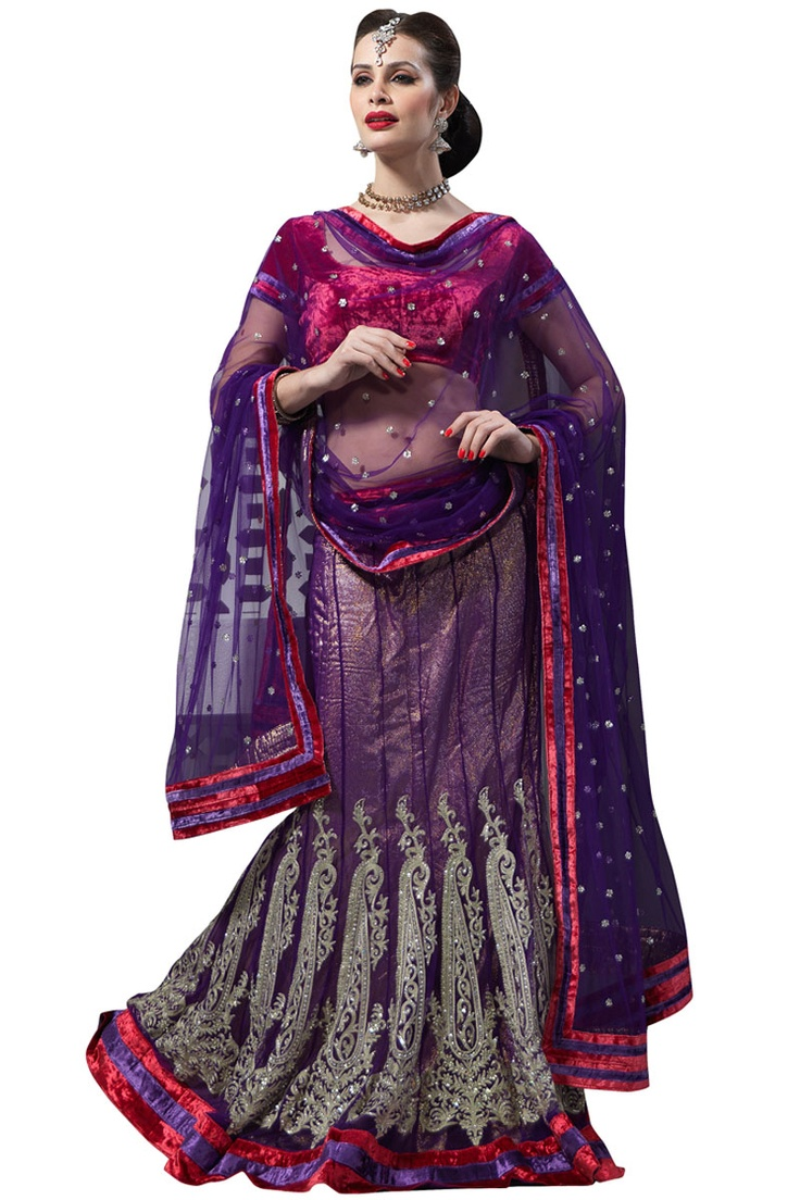 Designer Embroidered Wedding Lehenga Choli; Violet and Deep Cerise Pink Net Embroidered Bridal and Wedding Lehenga Choli
