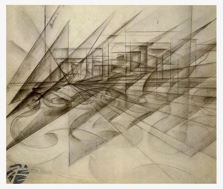 Balla, Giacomo; Dynamic Penetrations of a Car; 1913; Charcoal on paper