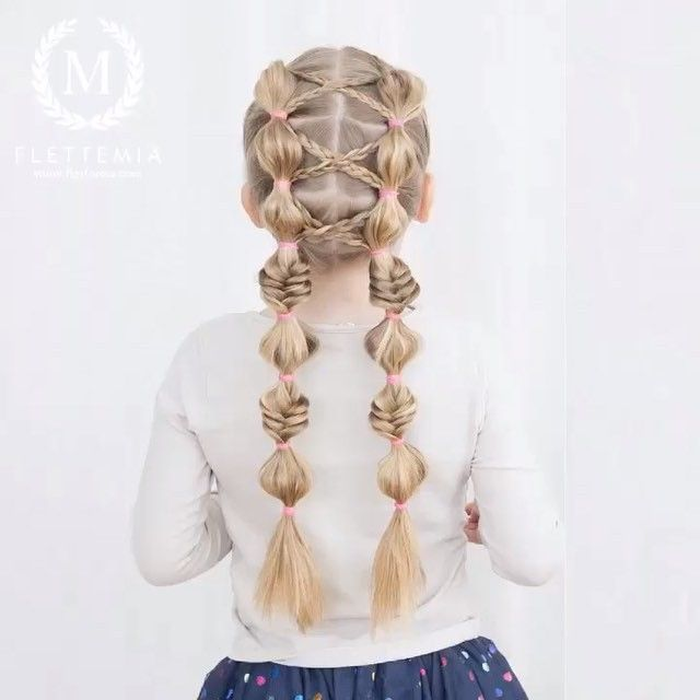 """ BILDESERIE: Kryssede treerfletter og boblemusefletter  /  PICTORIAL: Crisscrossed three stand braids and bubble pigtails "" Photo taken by @flettemia on Instagram, pinned via the InstaPin iOS App! http://www.instapinapp.com (04/04/2016)"