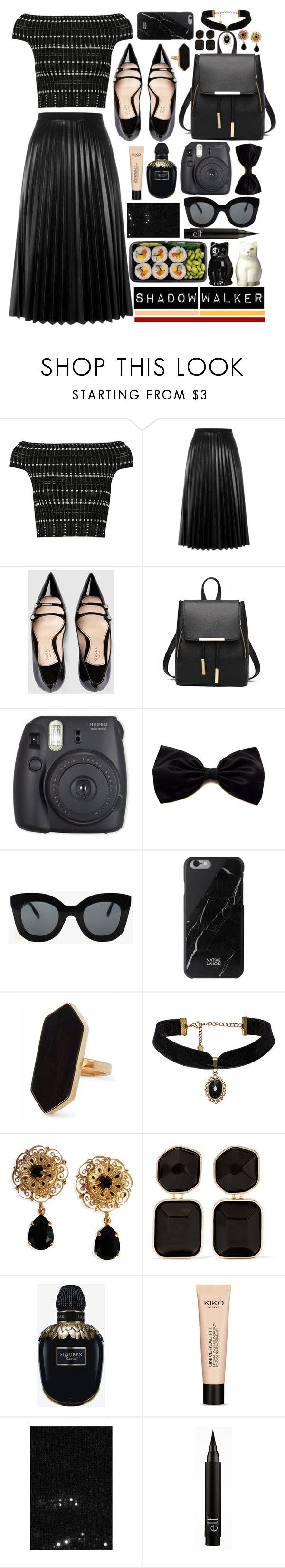 """""""Shadow Walker"""" by atarituesday ❤ liked on Polyvore featuring Alexander McQueen, Aviù, Gucci, CÉLINE, Native Union, Jaeger, Dolce&Gabbana, Kenneth Jay Lane, Universal and Yves Saint Laurent"""