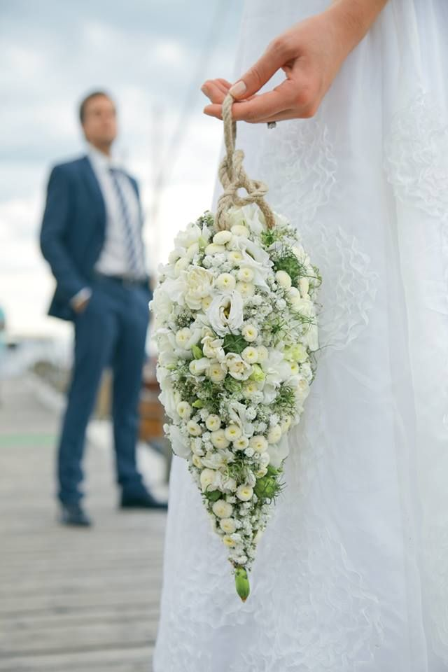 Unique Pomander Wedding Bouquet Featuring: White Lisianthus, White Feverfew, Greenery