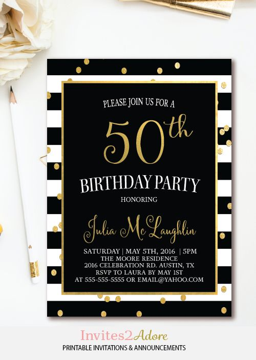 Black Amp White Stripe Birthday Invitation Gold Confetti