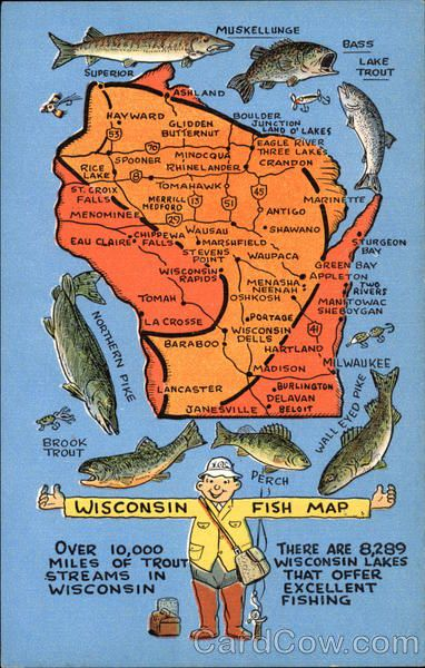 Wisconsin Fish Map Maps Fishing