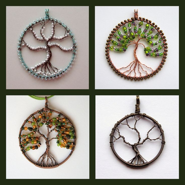 Custom Tree of Life Pendant (round) wire-worked and beaded if desired. , via Etsy.