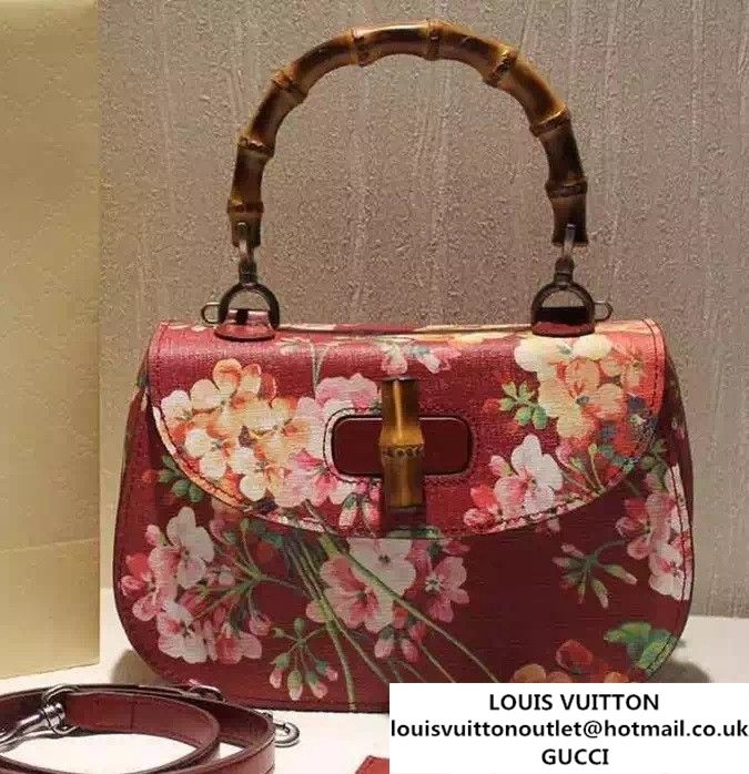 dde8ab50882 Gucci Bamboo Classic Blooms Print Top Handle Bag 409398 Red 2016 ...