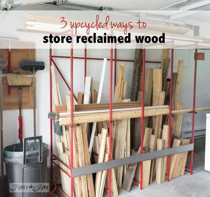 3 upcycled ways to store reclaimed wood in your workshop / by Funky Junk Interiors for ebay.com