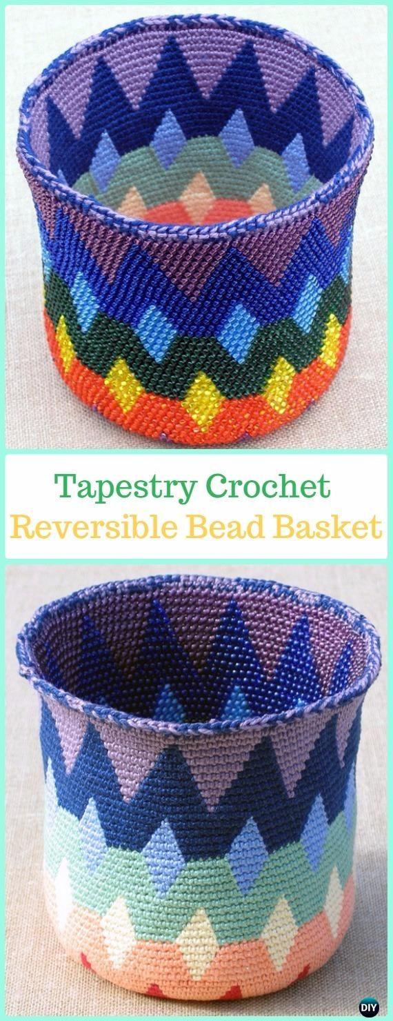 Reversible Bead Tapestry Crochet Basket Paid Pattern -Tapestry Crochet Free Patterns