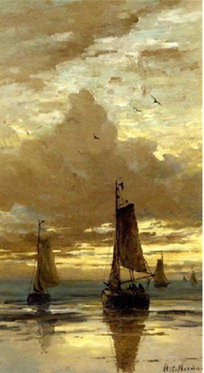 Hendrik Willem Mesdag (Dutch, 1831–1915) Title: Bomschuiten in the surf at dusk
