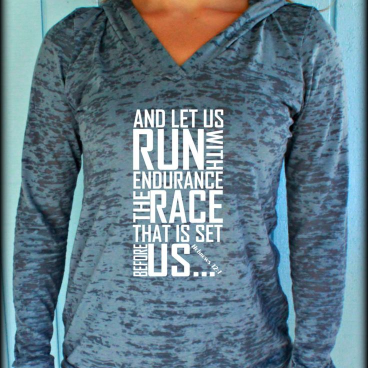 4 Janine/Jasmine  Womens Workout Hoodie. Keep Running the Race Hebrews 12 1 Bible Verse. Running Burnout Hoodie. Christian Clothing. Workout Inspiration.