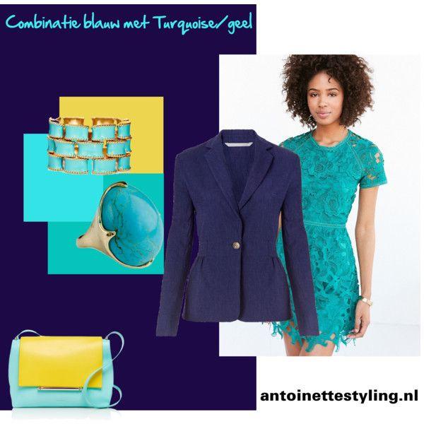 Combinatie blauw met turquoise en geel
